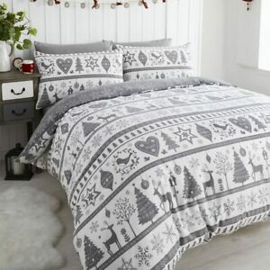 Noel Quilt Duvet Cover and Pillowcase Bedding Bed Set Christmas Trees, Grey