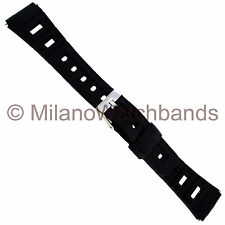 20mm Flex-On Black Rubber Sports Strap Water Proof Mens Watch Band Regular 353