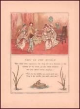 CHILDRENS GAME, FROG IN MIDDLE by Kate Greenaway, chromolithograph antique 1889
