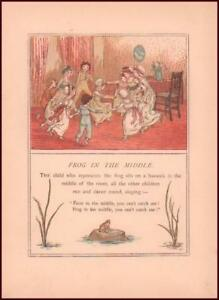 CHILDRENS GAME, FROG IN MIDDLE by Kate Greenaway, chromolithograph antique 1889*
