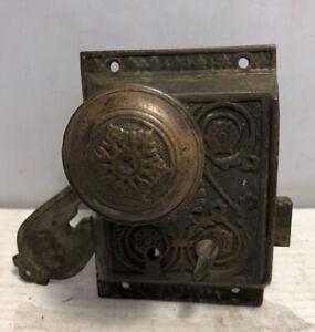 Antique Eastlake Brass Mortise & Door Knob Set Marked PRR Railroad Salvage ??