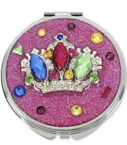 $35 Betsey Johnson multi stone pink crown glitter compact mirror C3A