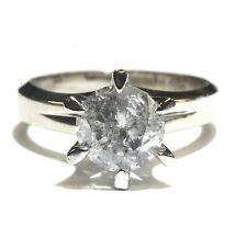 GIA 14k white gold 2.10ct I3 I Round diamond solitaire engagement ring 4.6g