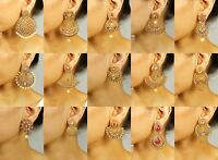 Indian Designer Jewelry Gold Plated Wedding Wear Traditional Polki Earring Set