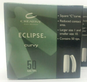 CND Eclipse Curvy Nail Tips for Acrylic UV Gel Nail Size #1-10, 50 Tips