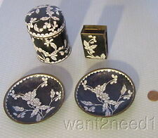 20s antique vtg CHINA CLOISONNE ENAMEL SMOKE SET 4p CIGARETTE MATCH BOX ASHTRAYS