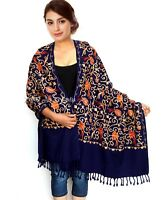 Women Aari Kashmir Stole Multi Color Flower Embroidered Wool Shawl Cashmere