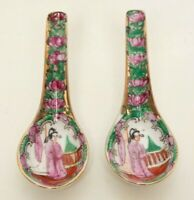Antique Chinese Famille Rose Soup Spoons Geisha Girl Motif Hand Painted Enamel G