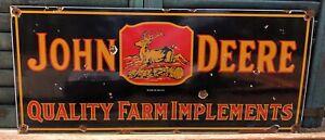LARGE 1934 VINTAGE JOHN DEERE FARM IMPLEMENT TRACTOR PORCELAIN ENAMEL SIGN