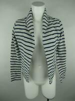 Lou & Grey for LOFT Women XS White Cotton Open Striped Pockets Cardigan Sweater