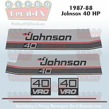 1987-88 Johnson 40 HP Sea-Horse Outboard Reproduction 6 Pc Marine Vinyl Decals