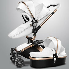 2in1 Baby Stroller Leather Carriage Infant Travel Car Foldable Pram Pushchair