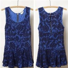 Anthropologie Meadow Rue Emilia Peplum Top Blue Embroidered - Size XS