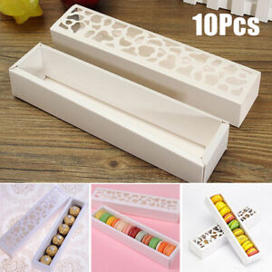 10Pcs Macaron Hollow Boxes Cookie Cake Chocolate Box Wedding Gift Packing White