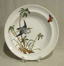 Set of 4 Antique Copeland Rimmed Soup Bowls with Herons and Palm Trees D9875