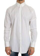NEW $420 DOLCE & GABBANA Shirt Dress White Cotton GOLD Slim Fit 41 /US16 / L