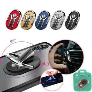 UNIVERSAL 360 FINGER RING CELL PHONE HOLDER STAND CAR MAGNETIC METAL PLATE SLIM