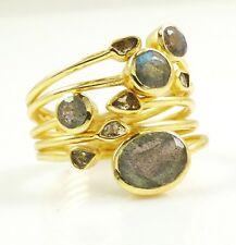BOLD Polki Diamond & Labradorite Ring Size 8 ~ 14k Gold Plated Sterling Silver