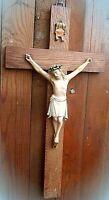 altes holz kruzifix kreuz mit christusfigur aus porzellan ca 50 cm um 1940-50