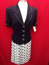 "Effetto Italy SKIRT SUIT/SIZE18/RETAIL$199/NEW /NAVY/LINED/SKIRT LENGTH 27""/"