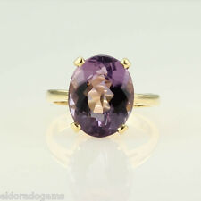 HIGH END LARGE SOLITAIRE AMETHYST COCKTAIL RING 14K YELLOW GOLD SIZE US8