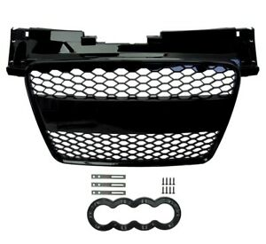 Gloss Black Front Conversion Grille RS style for Audi TT  2008-14 8J Honeycomb