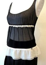 Chanel black ivory white CC logo ruffle tank top silk mesh S M 38 6 8