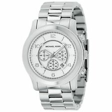 Michael Kors MK8086 Man's oversize silver stainless steel chronograph watch New
