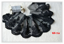 Beautiful Black Floral Embroidery Tulle/Mesh Net Lace Trim/Edging (10 cm) -- 1 M