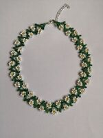 """Floral FLOWER seed daisy BEAD necklace weave white green  BOHO 16""""-18"""" GLASS"""
