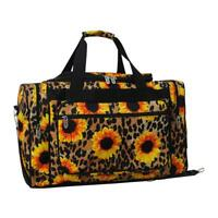 """Canvas 20"""" carry on airplane/duffle/gym/overnight bag NWT Sunflower Leopard"""