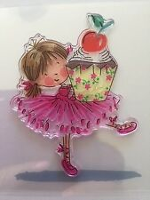 NEW• Cute BIRTHDAY BALLET GIRL & Cherry Cupcake Clear Unmounted Stamping STAMP