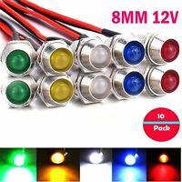 10x 12V LED mit Halter und 20cm Kabel Leuchtdiode Leuchtdioden Fassung 8mm Hot