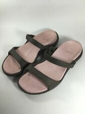 Crocs Cleo Sandals Flats Slip-On Comfort Shoes Womens 6 Brown Pink Croslite