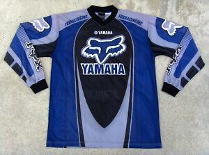 Fox racing Team Yamaha Motocross Jersey Men's Size L Blue & Gray Mesh
