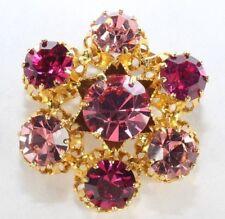 Brooch Pin - Made In Austria Flower Filigree Pink Crystal Rhinestones Gold Tone