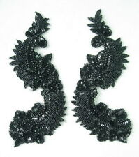 Lr65-2 Sequined Beaded Applique Black Mirror Pair L&R Floral Motif Sew On
