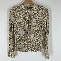 Etcetera Woman shirt size small brown pink pattern ruffle knit Long Sleeve
