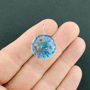 Wish Pendant - 3D Round Glass Pendant - Royal Blue - Silver Tone Loop - Z611