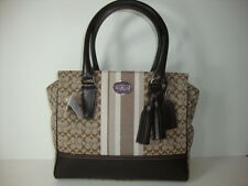 Coach legacy signature stripe canvas carryall handbag  29601E SV Khaki Mahogany