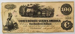 "1862 CSA Confederate Civil War $100 ""Railroad"" Banknote - NO RESERVE - EH12"