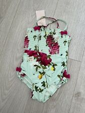 New Ted Baker Girls Floral Mint One Piece Swimsuit Swimwear Size 2-3 Years