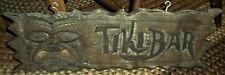 VINTAGE c. 1950S-60S TIKI BAR SIGN w/ FOLK ART CARVED WOOD TOTEM FACE vafo