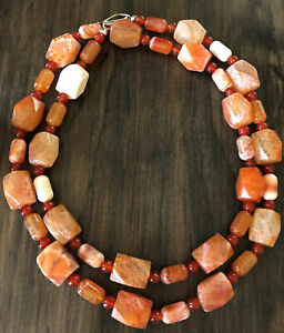 "JAY KING Orange Spider Web Agate & Carnelian 35"" Necklace, Sterling Silver"