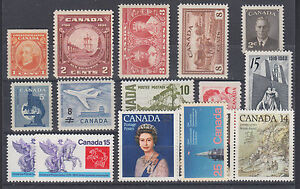 Canada Sc 141/764 MNH. 1927-1978 issues, 16 different singles, F-VF or better