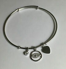 Sterling Silver Stackable Bangle Evil Eye Clear CZ Charm Expandable Bracelet