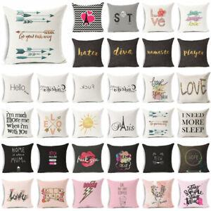 Funny Art Words Cotton Linen Pillow Case Sofa Throw Cover Home Decor Cushion