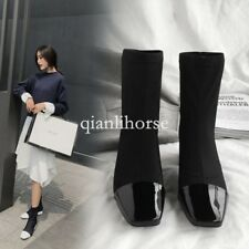 fashion womens square toes block chunky heels pull on stretchy party ankle boots