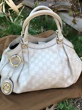 Gucci Guccissima Sukey Ivory GG Leather Medium Hand Bag