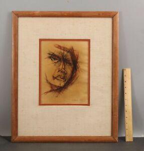 1955 Signed Vintage Mid-Century Modern Expressionist Portrait Drawing, NR